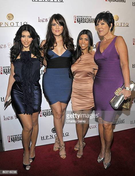 Television personalities Kim Kardashian Khloe Kardashian Kourtney Kardashian and Kris Jenner attend the season two launch of 'Keeping Up With The...