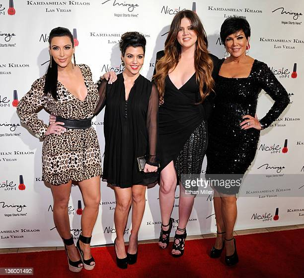 Television personalities Kim Kardashian Kourtney Kardashian Khloe Kardashian and Kris Jenner arrive at the grand opening of the Kardashian Khaos...