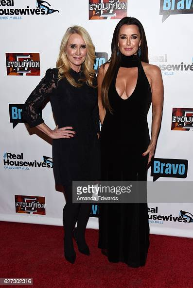 Television personalities Kim Richards and Kyle Richards arrive at the premiere party for Bravo Networks' 'Real Housewives Of Beverly Hills' Season 7...