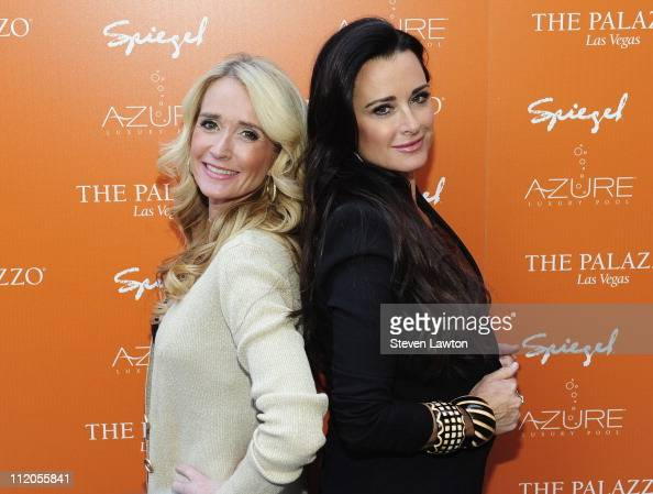 Television personalities Kim Richards and Kyle Richards arrive to host the grand opening of Azure luxury pool at The Palazzo on April 10 2011 in Las...