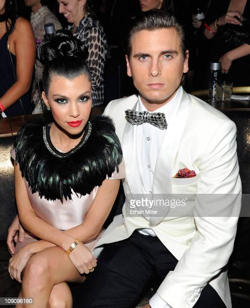 Television personalities Kourtney Kardashian and Scott Disick attend the launch of AG Adriano Goldschmied's 'backstAGe presents' initiative featuring...