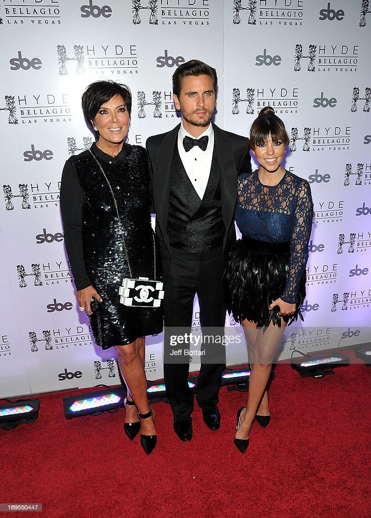 Television personalities Kris Jenner, Scott Disick and Kourtney Kardashian arrive to celebrate Scott's 30th birthday at Hyde Bellagio at the Bellagio over Memorial Day weekend on May 26, 2013 in Las Vegas, Nevada.