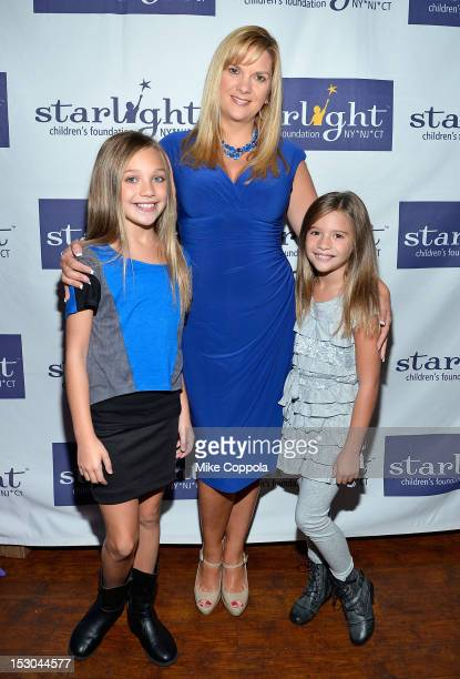 Television personalities Maddie Ziegler Melissa Gisoni and Mackenzie Ziegler attend the 'Dance Moms' meet and greet benefiting Starlight Children's...