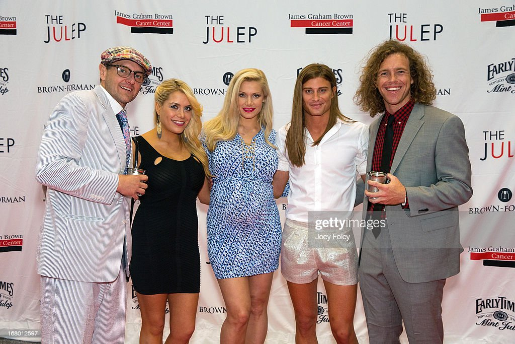 Television Personalities, Mike 'Boogie' Malin, Ashley Iocco, <a gi-track='captionPersonalityLinkClicked' href=/galleries/search?phrase=Janelle+Pierzina&family=editorial&specificpeople=2242021 ng-click='$event.stopPropagation()'>Janelle Pierzina</a>,Wil Heuser, and Frank Eudy attends the Julep Ball 2013 during the 139th Kentucky Derby at KFC YUM! Center on May 3, 2013 in Louisville, Kentucky.