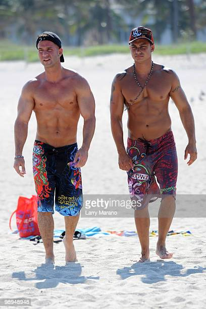 Television personalities Mike 'The Situation' Sorrentino and Paul 'Pauly D' DelVecchio are seen on May 9 2010 in Miami Beach Florida