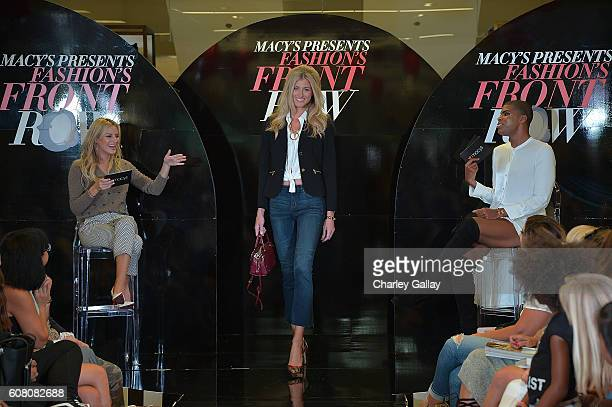Television personalities Morgan Stewart and EJ Johnson attend Macy's Presents Fashion's Front Row In Los Angeles at The Beverly Center on September...