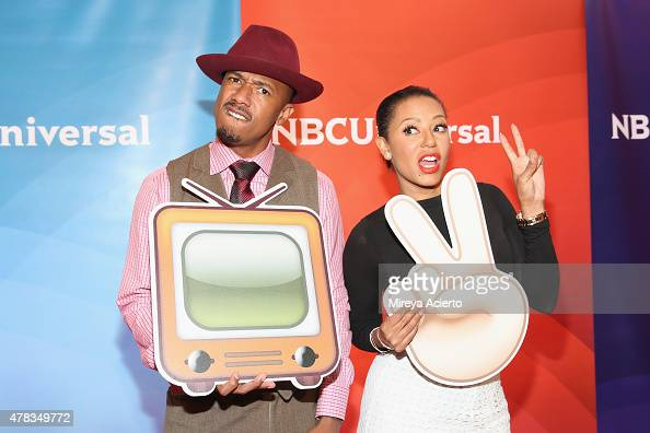 Television personalities Nick Cannon and Mel B attend the 2015 NBC New York Summer Press Day at Four Seasons Hotel New York on June 24 2015 in New...
