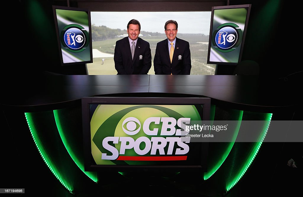 Television personalities <a gi-track='captionPersonalityLinkClicked' href=/galleries/search?phrase=Nick+Faldo&family=editorial&specificpeople=171119 ng-click='$event.stopPropagation()'>Nick Faldo</a> and <a gi-track='captionPersonalityLinkClicked' href=/galleries/search?phrase=Jim+Nantz&family=editorial&specificpeople=700519 ng-click='$event.stopPropagation()'>Jim Nantz</a> pose in the CBS Sports tower on the 18th hole during the final round of the RBC Heritage at Harbour Town Golf Links on April 21, 2013 in Hilton Head Island, South Carolina.
