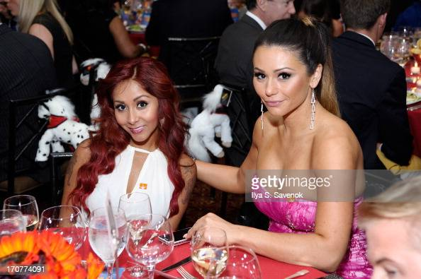Television personalities Nicole 'Snooki' Polizzi and Jenni JWoww Farley attend TrevorLIVE New York at Pier Sixty at Chelsea Piers on June 17 2013 in...