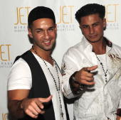 Television personalities Paul 'Pauly D' DelVecchio and 'The Situation' from the television show 'Jersey Shore' arrive to host a night at Jet...