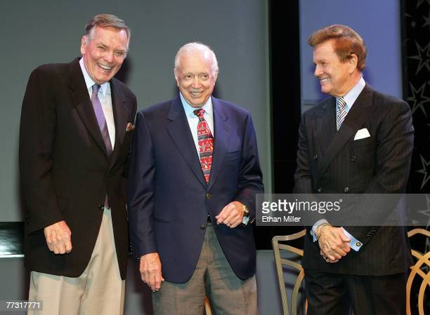 Television personalities Peter Marshall Hugh Downs and Wink Martindale smile after being inducted into the American TV Game Show Hall of Fame at the...