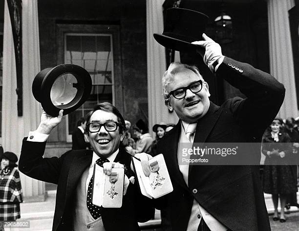 7th February 1978 British comedy duo Ronnie Corbett left and Ronnie Barker of 'The Two Ronnies' pictured after they received their OBE's from HM THE...