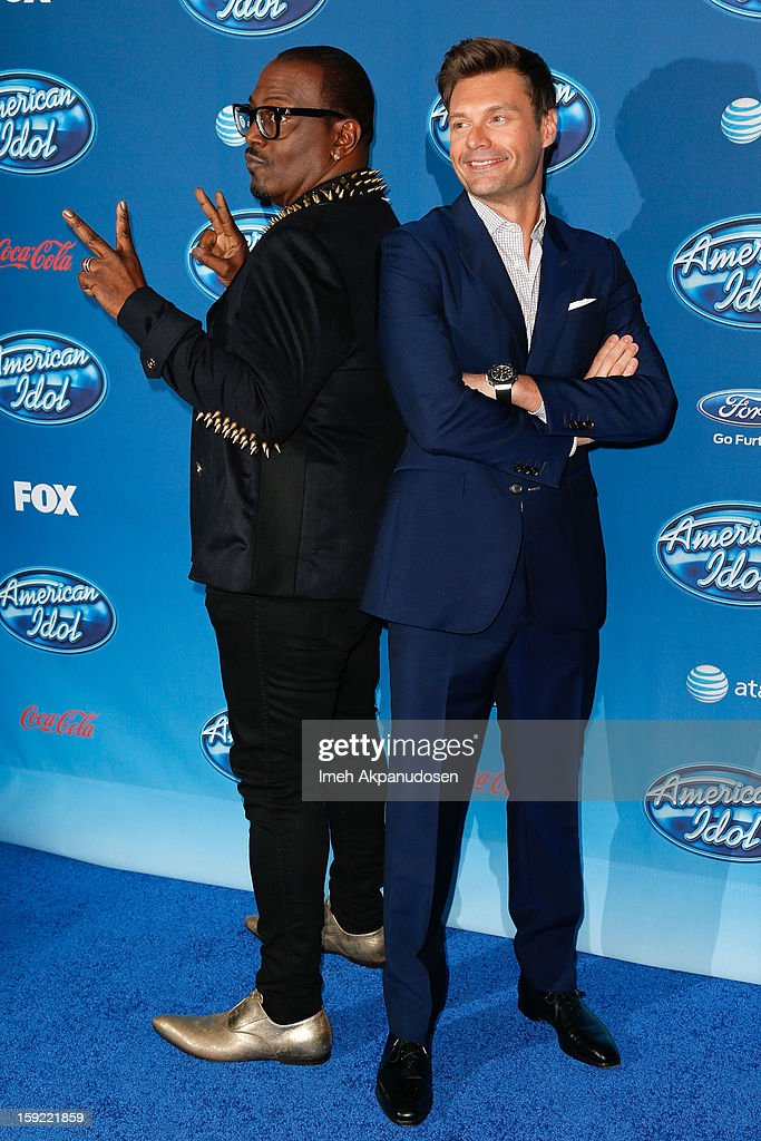 Television personalities Randy Jackson (L) and <a gi-track='captionPersonalityLinkClicked' href=/galleries/search?phrase=Ryan+Seacrest&family=editorial&specificpeople=201694 ng-click='$event.stopPropagation()'>Ryan Seacrest</a> attend the season premiere screening of Fox's 'American Idol' at Royce Hall, UCLA on January 9, 2013 in Westwood, California.