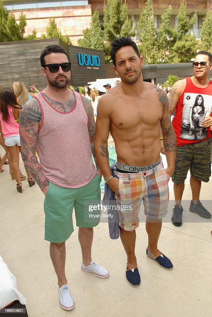 Television personalities Ryan Labbe (L) and Jason 'JROC' Craig appear during television personality DJ Paul 'Pauly D' DelVecchios performance at the Liquid Pool Lounge at the Aria Resort & Casino at CityCenter on April 13, 2013 in Las Vegas, Nevada.