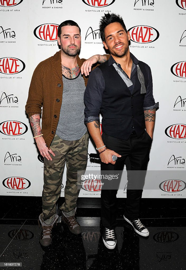 Television personalities Ryan Labbe (L) and Jason 'JROC' Craig arrive at Haze Nightclub at the Aria Resort & Casino at CityCenter on February 16, 2013 in Las Vegas, Nevada.