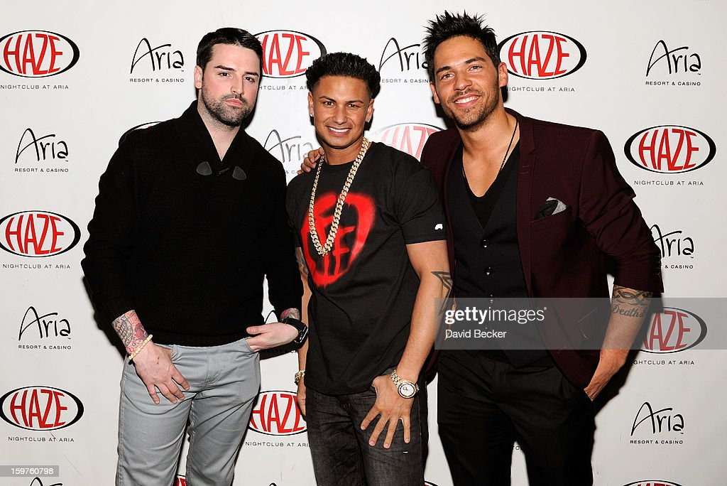 Television personalities Ryan Labbe, DJ Paul 'Pauly D' DelVecchio and Jason 'JROC' Craig arrive at DelVecchio's year-long residency kick-off at Haze Nightclub at the Aria Resort & Casino at CityCenter on January 19, 2013 in Las Vegas, Nevada.