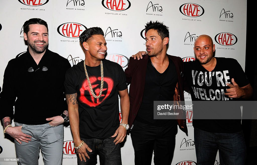 Television personalities Ryan Labbe, DJ Paul 'Pauly D' DelVecchio, Jason 'JROC' Craig and Gerald 'Big Jerry' Gialanella arrive at DelVecchio's year-long residency kick-off at Haze Nightclub at the Aria Resort & Casino at CityCenter on January 19, 2013 in Las Vegas, Nevada.
