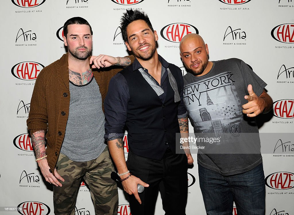 Television personalities Ryan Labbe, Jason 'JROC' Craig and Gerald 'Big Jerry' Gialanella arrive at Haze Nightclub at the Aria Resort & Casino at CityCenter on February 16, 2013 in Las Vegas, Nevada.