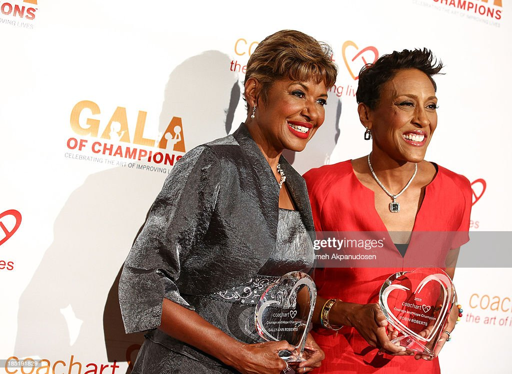 Television personalities Sally-Ann Roberts (L) and <a gi-track='captionPersonalityLinkClicked' href=/galleries/search?phrase=Robin+Roberts+-+Television+Anchor&family=editorial&specificpeople=4439371 ng-click='$event.stopPropagation()'>Robin Roberts</a> attend CoachArt's 9th Annual 'Gala Of Champions' at The Beverly Hilton Hotel on October 17, 2013 in Beverly Hills, California.