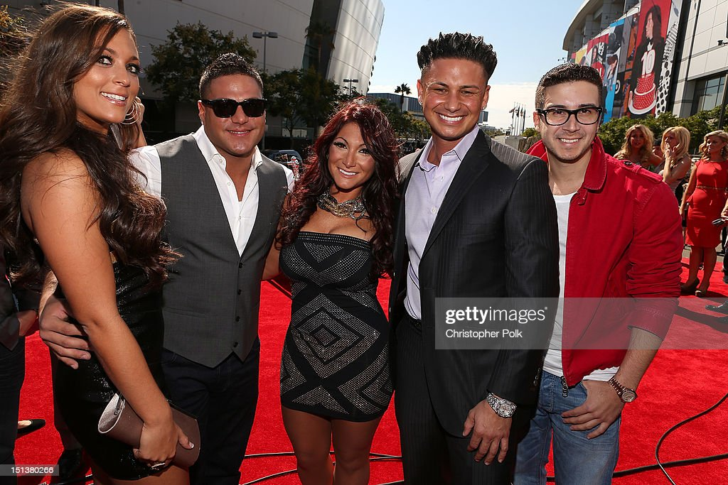 Television personalities Sammi 'Sweetheart' Giancola Ronnie OrtizMagro Deena Nicole Cortese DJ Paul 'Pauly D' DelVecchio and Vinny Guadagnino arrive...