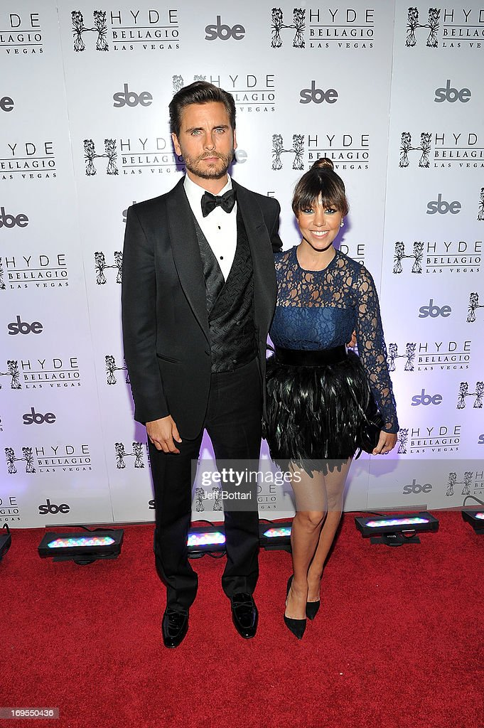 Television personalities <a gi-track='captionPersonalityLinkClicked' href=/galleries/search?phrase=Scott+Disick&family=editorial&specificpeople=4420046 ng-click='$event.stopPropagation()'>Scott Disick</a> (L) and <a gi-track='captionPersonalityLinkClicked' href=/galleries/search?phrase=Kourtney+Kardashian&family=editorial&specificpeople=3955024 ng-click='$event.stopPropagation()'>Kourtney Kardashian</a> arrive to celebrate Scott's 30th birthday at Hyde Bellagio at the Bellagio over Memorial Day weekend on May 26, 2013 in Las Vegas, Nevada.