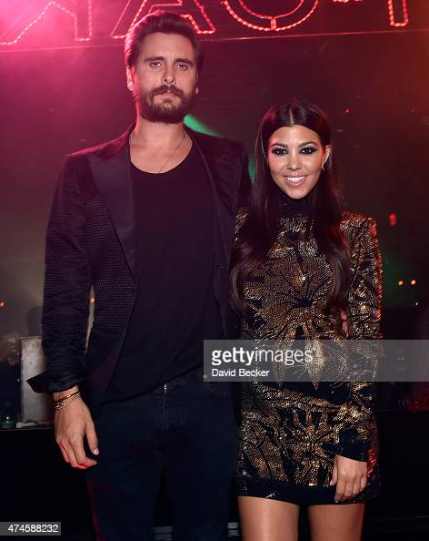 Television personalities Scott Disick and Kourtney Kardashian attend his birthday celebration at 1 OAK Nightclub at The Mirage Hotel Casino on May 23...
