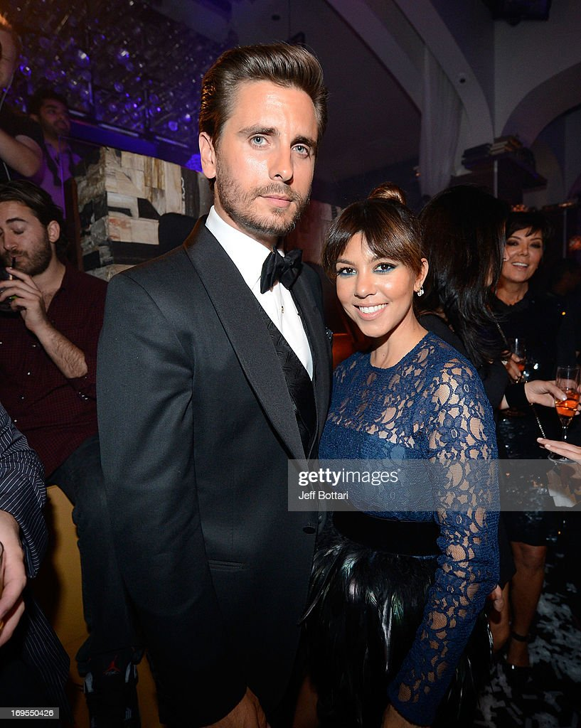 Television personalities <a gi-track='captionPersonalityLinkClicked' href=/galleries/search?phrase=Scott+Disick&family=editorial&specificpeople=4420046 ng-click='$event.stopPropagation()'>Scott Disick</a> (L) and <a gi-track='captionPersonalityLinkClicked' href=/galleries/search?phrase=Kourtney+Kardashian&family=editorial&specificpeople=3955024 ng-click='$event.stopPropagation()'>Kourtney Kardashian</a> celebrate Scott's 30th birthday at Hyde Bellagio at the Bellagio over Memorial Day weekend on May 26, 2013 in Las Vegas, Nevada.