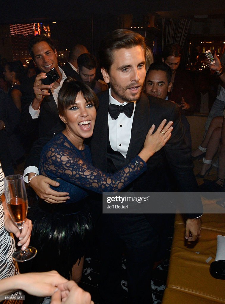Television personalities <a gi-track='captionPersonalityLinkClicked' href=/galleries/search?phrase=Scott+Disick&family=editorial&specificpeople=4420046 ng-click='$event.stopPropagation()'>Scott Disick</a> (R) and <a gi-track='captionPersonalityLinkClicked' href=/galleries/search?phrase=Kourtney+Kardashian&family=editorial&specificpeople=3955024 ng-click='$event.stopPropagation()'>Kourtney Kardashian</a> celebrate Scott's 30th birthday at Hyde Bellagio at the Bellagio over Memorial Day weekend on May 26, 2013 in Las Vegas, Nevada.