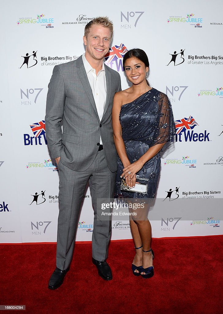 Television personalities Sean Lowe (L) and Catherine Giudici arrive at the 'Downton Abbey' Britweek celebration at the Fairmont Miramar Hotel on May 3, 2013 in Santa Monica, California.
