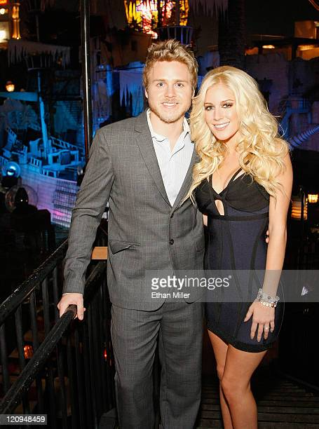 Television personalities Spencer Pratt and Heidi Montag appear at the Social House Restaurant at the Treasure Island Hotel Casino before hosting a...