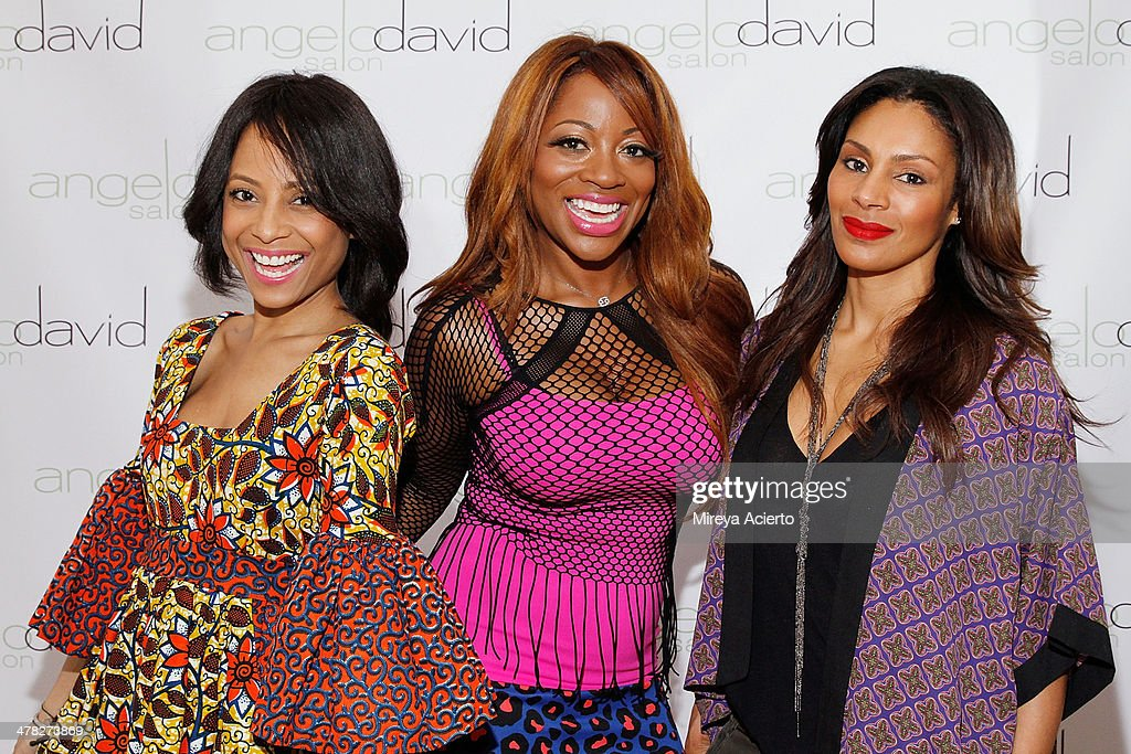 Television personalities, Tiffany Jones, Bershan Shaw and Chenoa Maxwell attend the 'Leggy Blonde' Book Event at Angelo David Salon on March 12, 2014 in New York City.