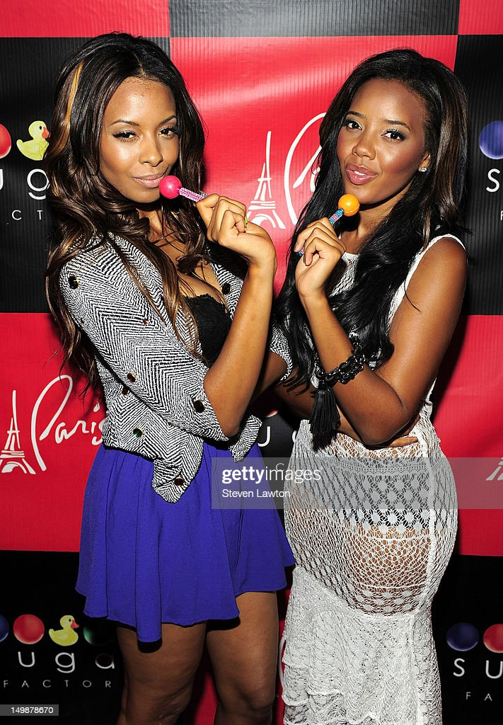 Television personalities Vanessa Simmons and Angela Simmons arrive at Sugar Factory inside the Paris Las Vegas on August 5 2012 in Las Vegas Nevada