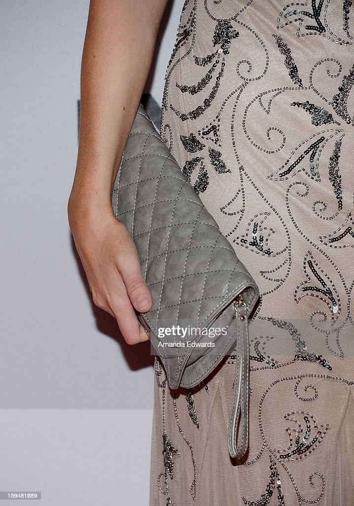 Television personality Ali Fedotowsky (clutch detail) arrives at the NBC Universal's 70th Golden Globes After Party at The Beverly Hilton Hotel on January 13, 2013 in Beverly Hills, California.