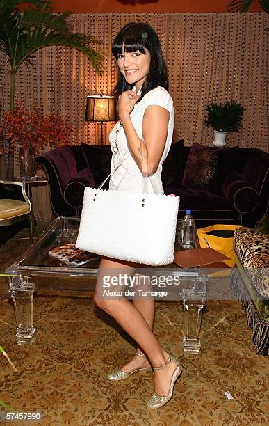 Television personality and 2006 Premios Billboard host Candela Ferro poses at the celebrity gift retreat presented by Backstage Creations for the...