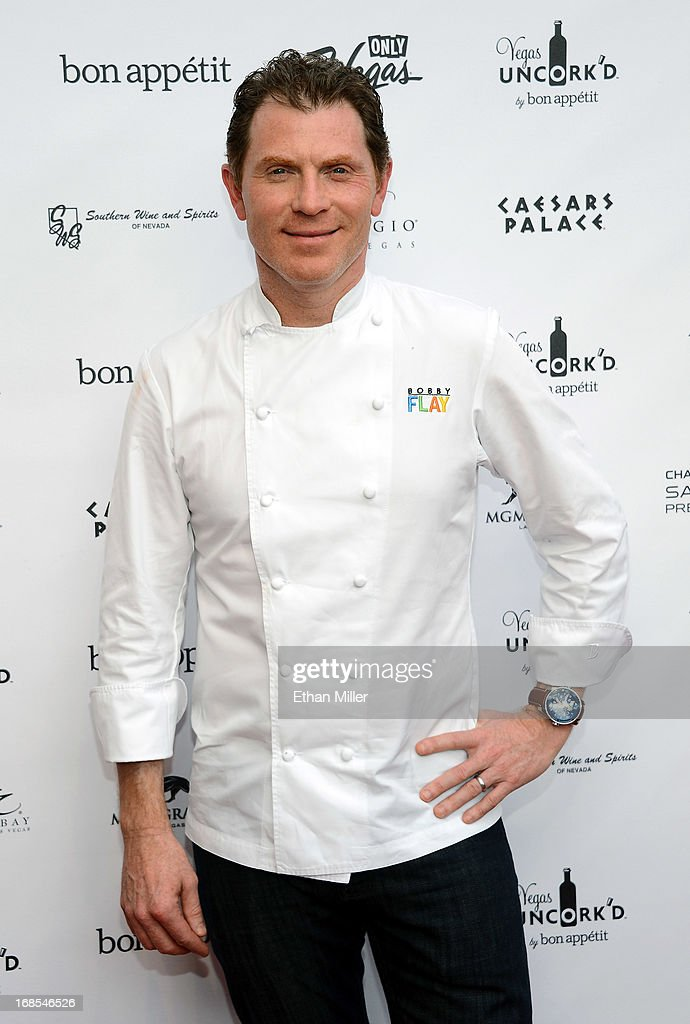 Television personality and chef <a gi-track='captionPersonalityLinkClicked' href=/galleries/search?phrase=Bobby+Flay&family=editorial&specificpeople=220554 ng-click='$event.stopPropagation()'>Bobby Flay</a> arrives at Vegas Uncork'd by Bon Appetit's Grand Tasting event at Caesars Palace on May 10, 2013 in Las Vegas, Nevada.