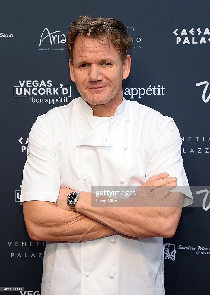 Television personality and chef <a gi-track='captionPersonalityLinkClicked' href=/galleries/search?phrase=Gordon+Ramsay&family=editorial&specificpeople=210520 ng-click='$event.stopPropagation()'>Gordon Ramsay</a> attends Vegas Uncork'd by Bon Appetit's Grand Tasting event at Caesars Palace on May 9, 2014 in Las Vegas, Nevada.