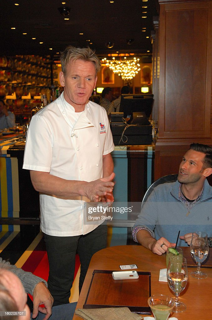 Television personality and chef Gordon Ramsay greets guests during a traditional Sunday Roast at Gordon Ramsay Pub & Grill at Caesars Palace in celebration of the opening of the restaurant as well as Gordon Ramsay BurGR at Planet Hollywood Resort & Casino on January 27, 2013 in Las Vegas, Nevada.
