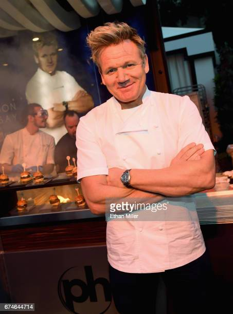 Television personality and chef Gordon Ramsay poses at the Gordon Ramsay Burger booth at the 11th annual Vegas Uncork'd by Bon Appetit Grand Tasting...