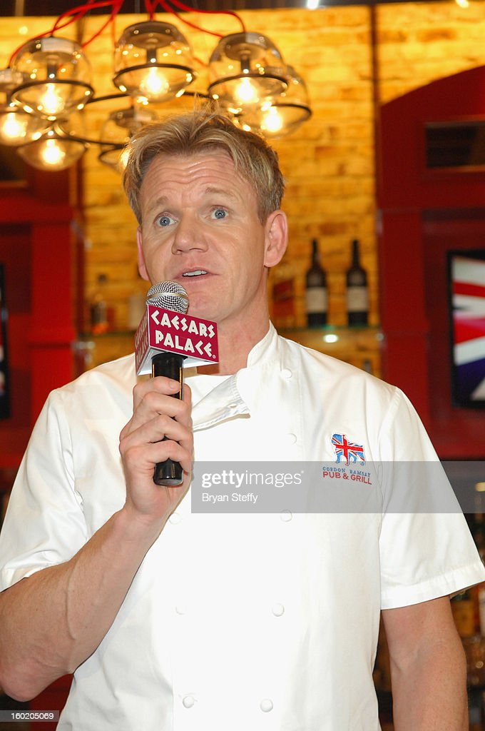 Television personality and chef <a gi-track='captionPersonalityLinkClicked' href=/galleries/search?phrase=Gordon+Ramsay&family=editorial&specificpeople=210520 ng-click='$event.stopPropagation()'>Gordon Ramsay</a> speaks during a traditional Sunday Roast at <a gi-track='captionPersonalityLinkClicked' href=/galleries/search?phrase=Gordon+Ramsay&family=editorial&specificpeople=210520 ng-click='$event.stopPropagation()'>Gordon Ramsay</a> Pub & Grill at Caesars Palace in celebration of the opening of the restaurant as well as <a gi-track='captionPersonalityLinkClicked' href=/galleries/search?phrase=Gordon+Ramsay&family=editorial&specificpeople=210520 ng-click='$event.stopPropagation()'>Gordon Ramsay</a> BurGR at Planet Hollywood Resort & Casino on January 27, 2013 in Las Vegas, Nevada.