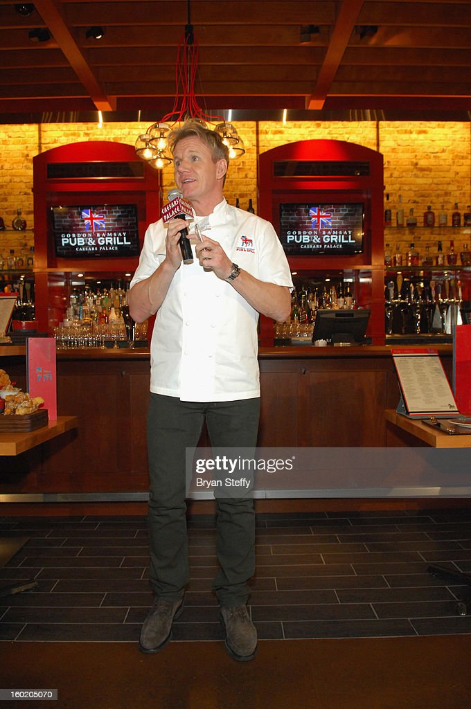 Television personality and chef Gordon Ramsay speaks during a traditional Sunday Roast at Gordon Ramsay Pub & Grill at Caesars Palace in celebration of the opening of the restaurant as well as Gordon Ramsay BurGR at Planet Hollywood Resort & Casino on January 27, 2013 in Las Vegas, Nevada.