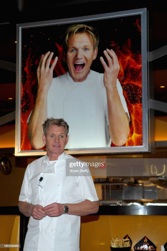 Television personality and chef <a gi-track='captionPersonalityLinkClicked' href=/galleries/search?phrase=Gordon+Ramsay&family=editorial&specificpeople=210520 ng-click='$event.stopPropagation()'>Gordon Ramsay</a> speaks during a traditional Sunday Roast at <a gi-track='captionPersonalityLinkClicked' href=/galleries/search?phrase=Gordon+Ramsay&family=editorial&specificpeople=210520 ng-click='$event.stopPropagation()'>Gordon Ramsay</a> BurGR at Planet Hollywood Resort & Casino in celebration of the opening of the restaurant as well as <a gi-track='captionPersonalityLinkClicked' href=/galleries/search?phrase=Gordon+Ramsay&family=editorial&specificpeople=210520 ng-click='$event.stopPropagation()'>Gordon Ramsay</a> Pub & Grill at Caesars Palace on January 27, 2013 in Las Vegas, Nevada.