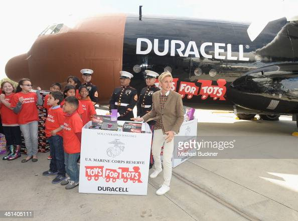 Television personality and comedian Ellen DeGeneres launches the 'Duracell Power a Smile Program' at the Van Nuys Airport on November 22 2013 in Van...