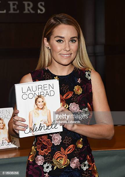 Television personality and fashion designer Lauren Conrad poses before signing copies of her book 'Celebrate' at Barnes Noble at The Grove on April 3...