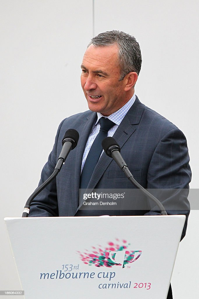 Television personality and host for the event Mark Beretta talks at the 2013 Melbourne Cup Carnival Launch at Flemington Racecourse on October 28, 2013 in Melbourne, Australia.