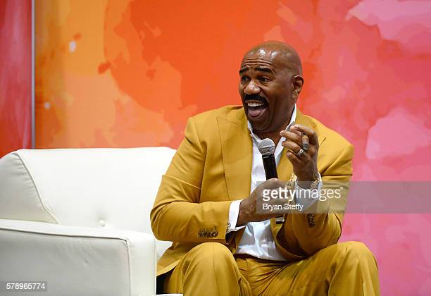 Television personality and host Steve Harvey speaks at the State Farm Color Full Lives Art Gallery during the 2016 State Farm Neighborhood Awards at...