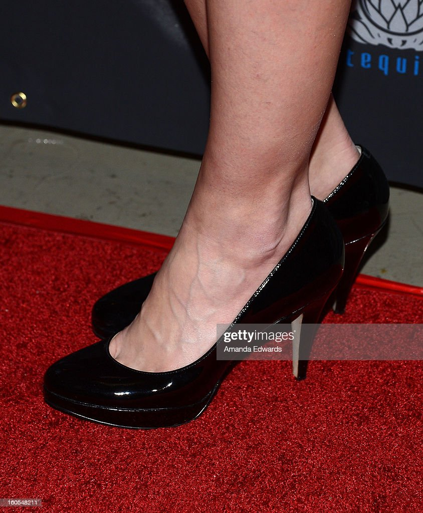 Television personality and model Canden Bliss Jackson (shoe detail) arrives at the Los Angeles Premiere of 'The Devil's Dozen' at Mann's Chinese 6 Theatres on February 1, 2013 in Hollywood, California.