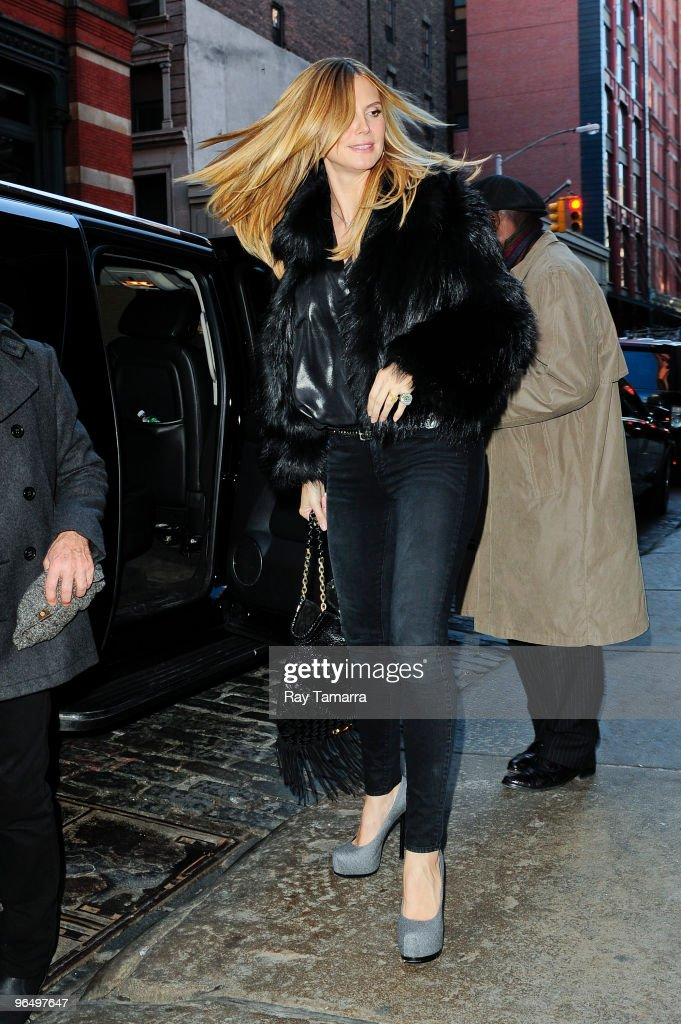 Television personality and model <a gi-track='captionPersonalityLinkClicked' href=/galleries/search?phrase=Heidi+Klum&family=editorial&specificpeople=178954 ng-click='$event.stopPropagation()'>Heidi Klum</a> enters her Soho hotel on February 08, 2010 in New York City.