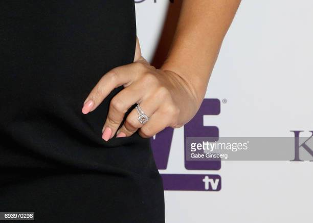 Television personality and model Jessica Hall ring detail attends the premiere of 'Sex Tips for Straight Women from a Gay Man' at the Paris Las Vegas...