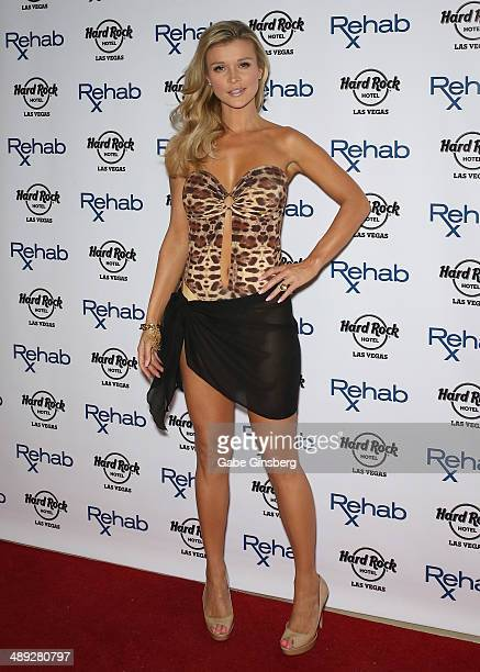 Television personality and model Joanna Krupa arrives at the Hard Rock Hotel Casino during the resort's Rehab pool party on May 10 2014 in Las Vegas...