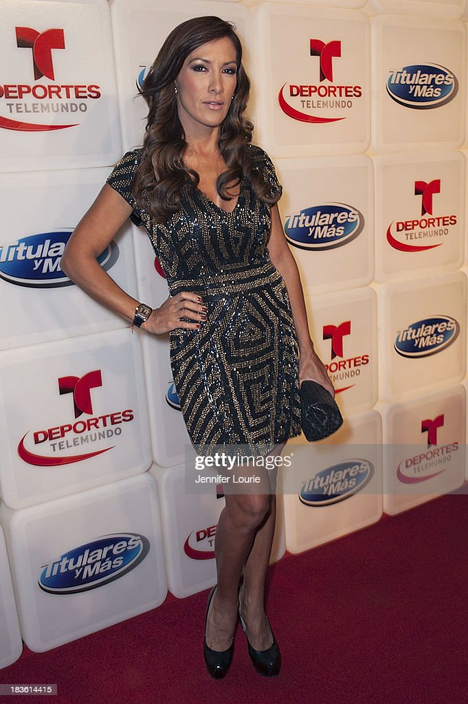 Television personality Azucena Cierco attends Deportes Telemundo's celebration of their hit show 'Titulares Y Mas' at Ebanos Crossing on October 7, 2013 in Los Angeles, California.